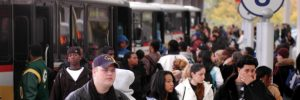 Public transit bus riders at Rapid Central Station