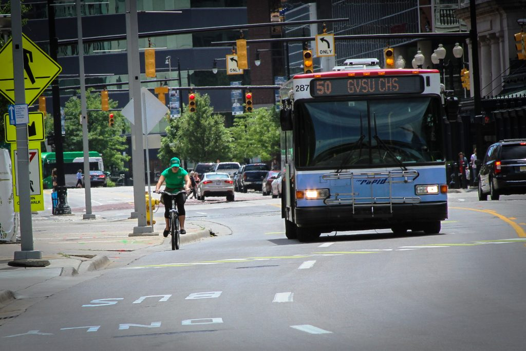 Bus and Bike in Grand Rapids